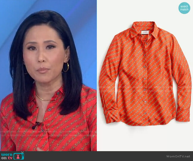 Collection Silk Twill shirt by J. Crew worn by Vicky Nguyen  on Today