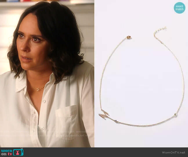 Delicate Monogram Necklace by Anthropologie worn by Maddie Kendall (Jennifer Love Hewitt) on 9-1-1