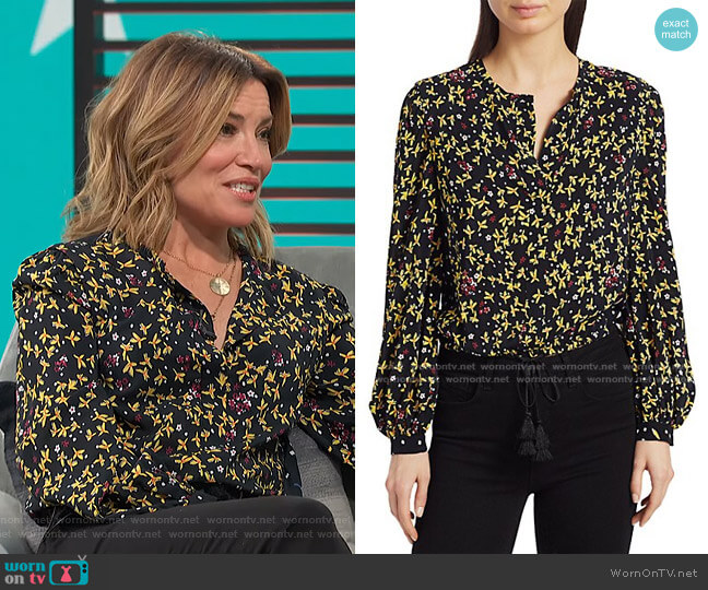 Aster Mixed Floral Blouse by Derek Lam 10 Crosby worn by Kit Hoover  on Access Hollywood
