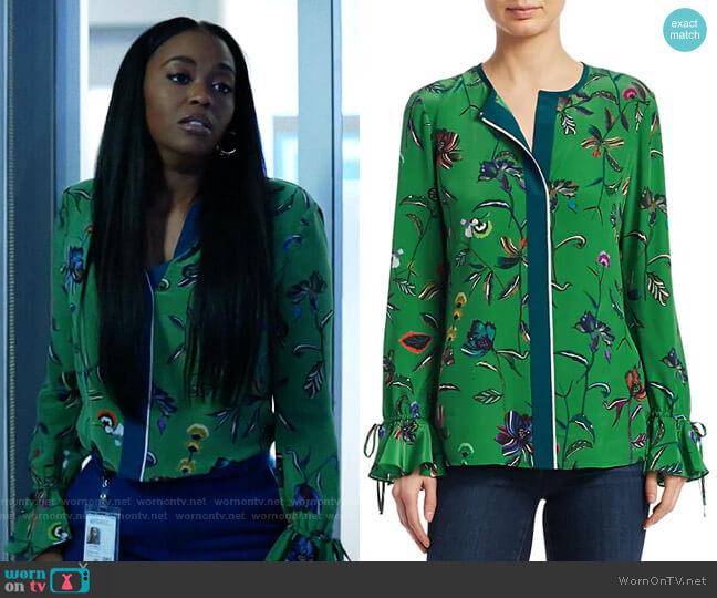 Floral Silk Bell-Sleeve Blouse by Derek Lam 10 Crosby worn by Anissa Pierce (Nafessa Williams) on Black Lightning