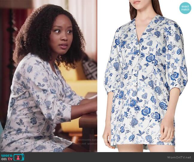 Ottilie Floral Print Dress by Derek Lam 10 Crosby worn by Katlyn Nichol on Black-ish worn by Olivia Lockhart (Katlyn Nichol) on Blackish