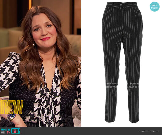 Pinstripe Tapered Trousers by Dolce & Gabbana worn by Drew Barrymore  on The Drew Barrymore Show