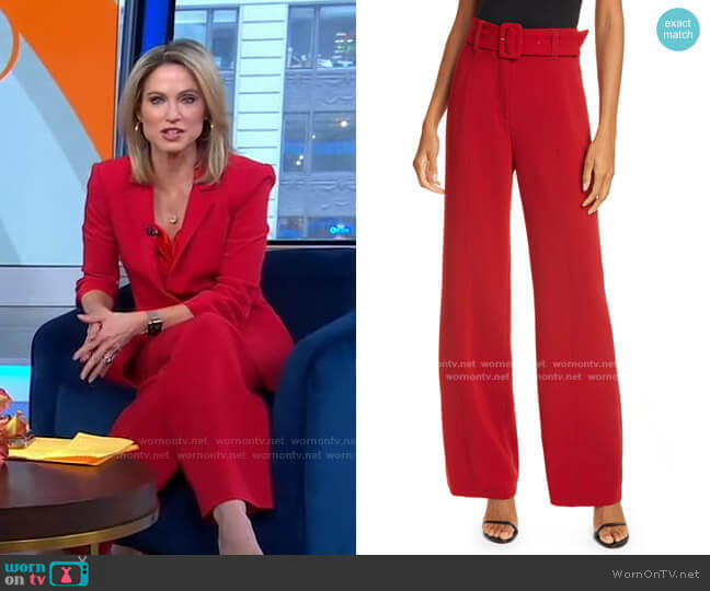 Eliza High Waist Belted Crepe Pants by Cinq a Sept worn by Amy Robach  on Good Morning America