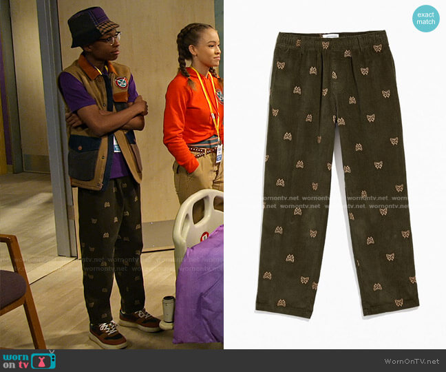 Embroidered Corduroy Pant by Urban Outfitters worn by Noah Lambert (Israel Johnson) on Bunkd