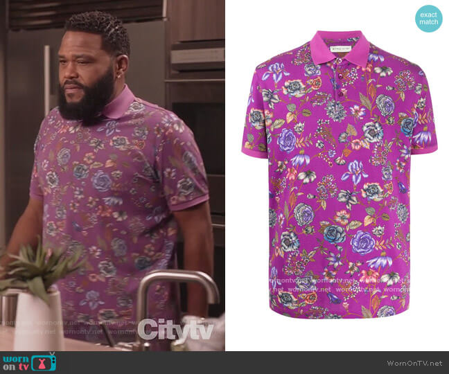 Floral Print Piqué polo shirt by Etro worn by Andre Johnson (Anthony Anderson) on Blackish
