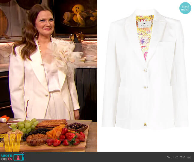 Single-Breasted Blazer by Etro worn by Drew Barrymore  on The Drew Barrymore Show