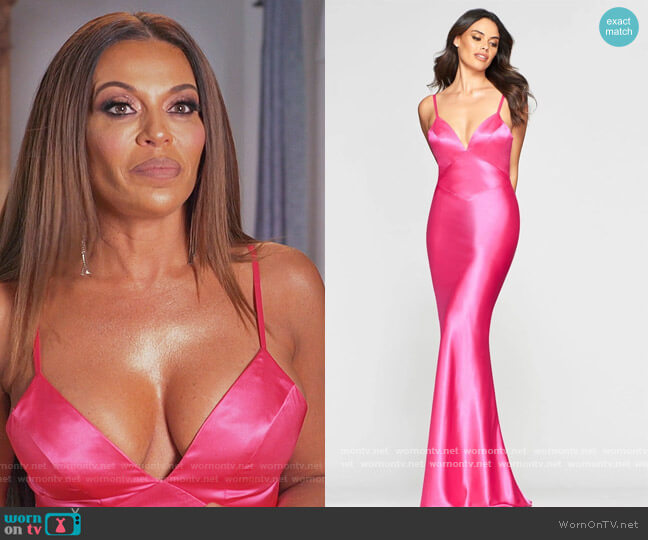 V-Neck Fitted Bodice Cutout Satin Mermaid Dress by Faviana worn by Dolores Catania  on The Real Housewives of New Jersey