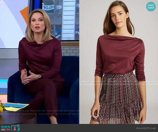 Faye Top in Berry by Reiss worn by Amy Robach  on Good Morning America