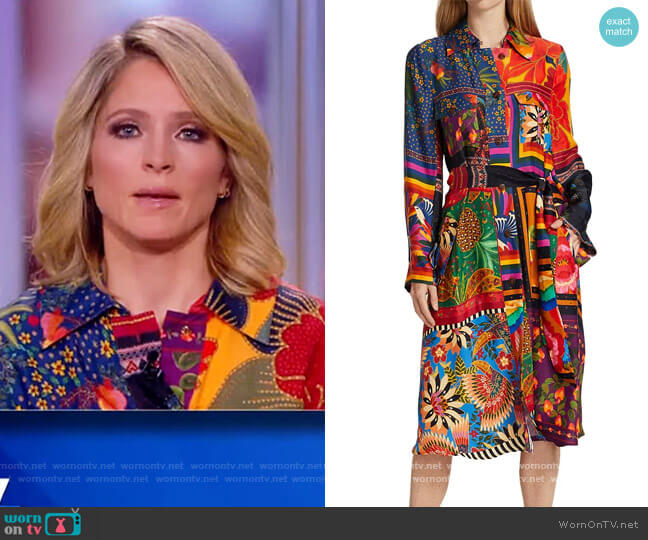 Mixed Scarves Chemise Shirtdress by Farm Rio worn by Sara Haines  on The View