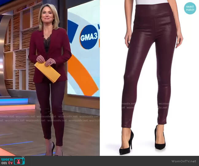 Faux Leather Pants by Level 99 worn by Amy Robach  on Good Morning America