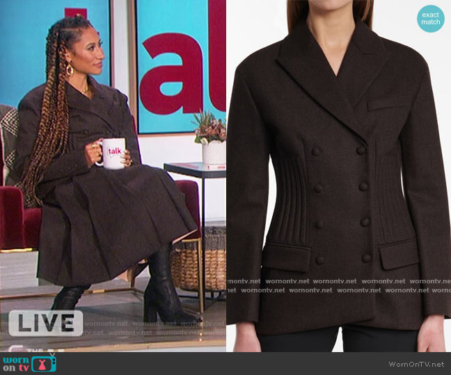 Wool and Cashmere Flannel Blazer by Fendi worn by Elaine Welteroth  on The Talk