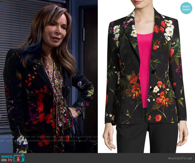 Floral Matelasse Jacket by Escada worn by Kate Roberts (Lauren Koslow) on Days of our Lives