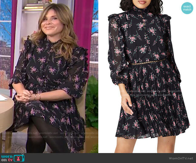 Floral Pleated Dress by ML Monique Lhuillier worn by Jenna Bush Hager  on Today