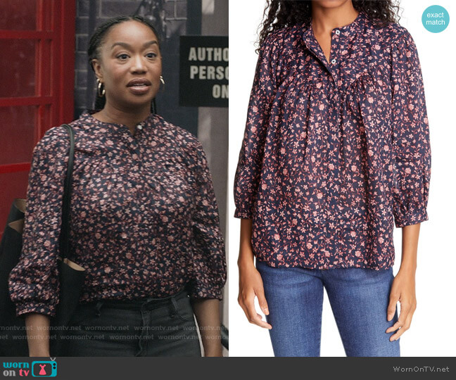 Anita Button Down Top by Frame worn by Michelle (Maya Lynne Robinson) on The Unicorn