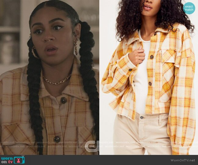 James Plaid Jacket by Free People worn by Patience (Chelsea Tavares) on All American