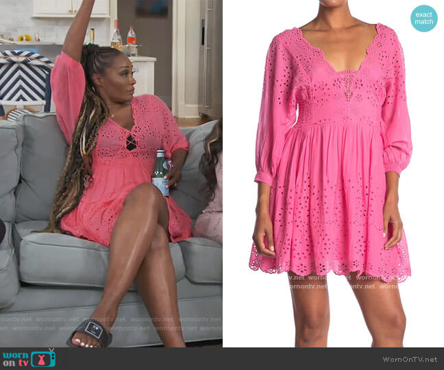 Lottie Eyelet Dress by Free People worn by Cynthia Bailey  on The Real Housewives of Atlanta