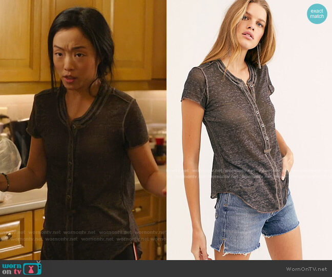 Kia Henley T-Shirt by Free People worn by Janet (Andrea Bang) on Kims Convenience