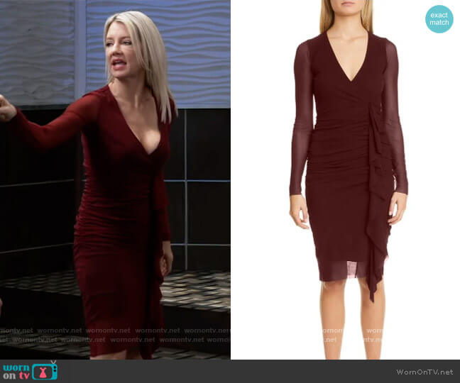 Ruched Ruffle Long Sleeve Dress by Fuzzi worn by Nina Reeves (Cynthia Watros) on General Hospital