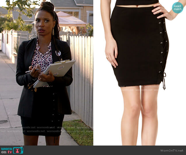 Callista Lace-Up Mini Skirt by Guess worn by Veronica Fisher (Shanola Hampton) on Shameless