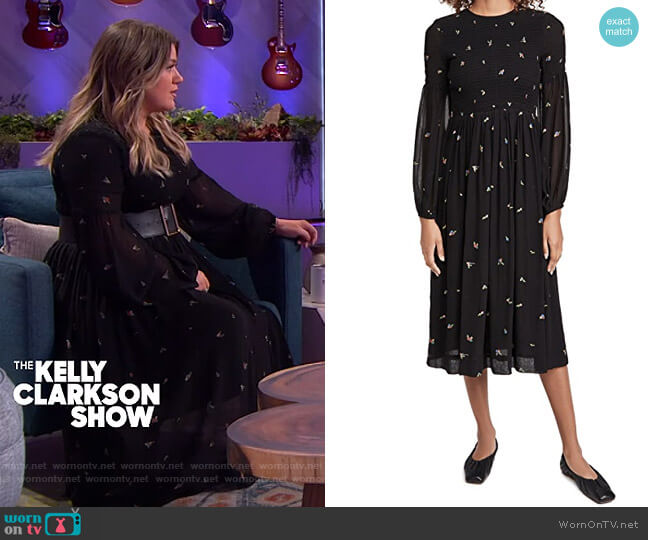 Printed Georgette Dress by Ganni worn by Kelly Clarkson  on The Kelly Clarkson Show