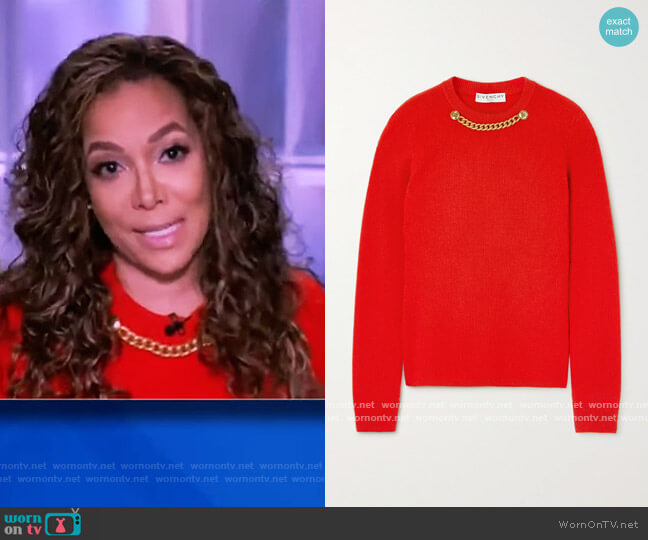 Chain-embellished ribbed wool and cashmere-blend sweater by Givenchy worn by Sunny Hostin  on The View