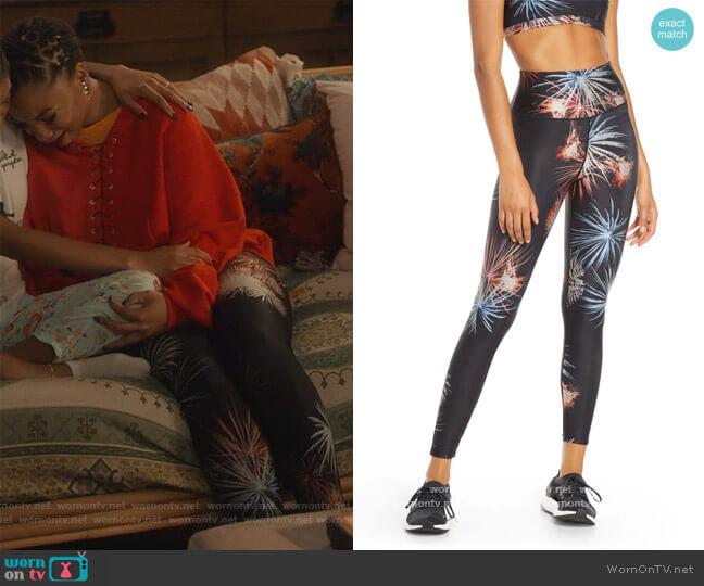 Firework High Waist Ankle Leggings by Good American worn by Jazlyn Forster (Chloe Bailey) on Grown-ish