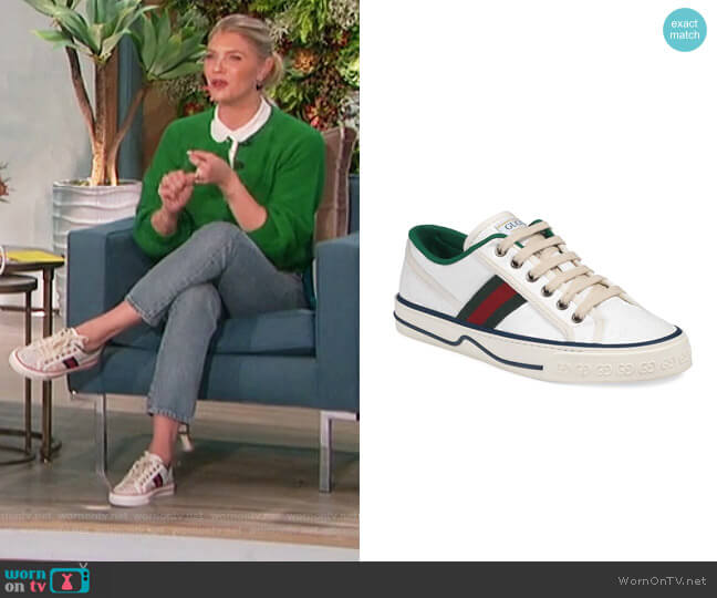 GG Stripe Tennis Sneakers by Gucci worn by Amanda Kloots  on The Talk