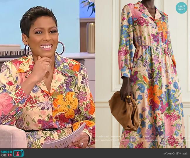 + Ken Scott appliquéd floral-print metallic georgette shirt dress by Gucci worn by Tamron Hall  on Tamron Hall Show