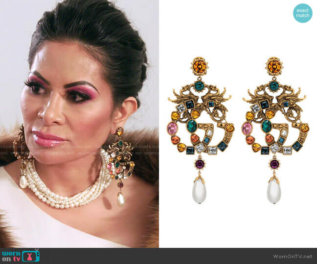 Crystal Double G earrings by Gucci worn by Jen Shah  on The Real Housewives of Salt Lake City