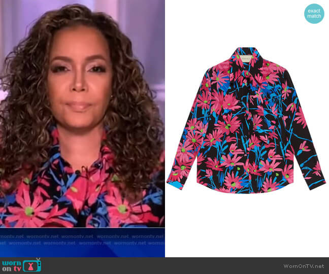 Floral Print Silk Shirt by Gucci worn by Sunny Hostin  on The View