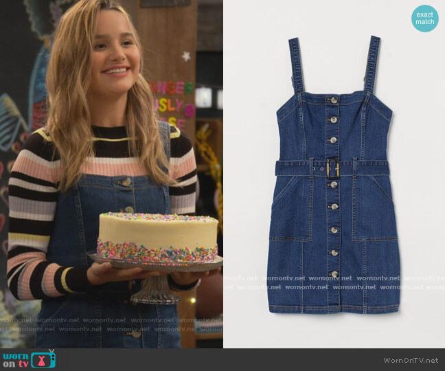 Denim Overall Dress by H&M worn by Lex (Jules LeBlanc) on Side Hustle