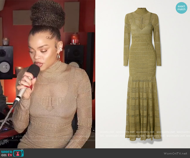 Pointelle-trimmed metallic stretch-knit turtleneck gown by Herve Leger worn by Andra Day on The View