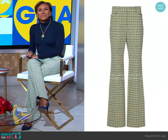 High-Rise Slim Flare Check Trousers by Victoria Beckham worn by Robin Roberts  on Good Morning America