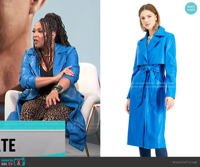 Faux-Leather Trench Coat by INC International Concepts worn by Kym Whitley  on E! News