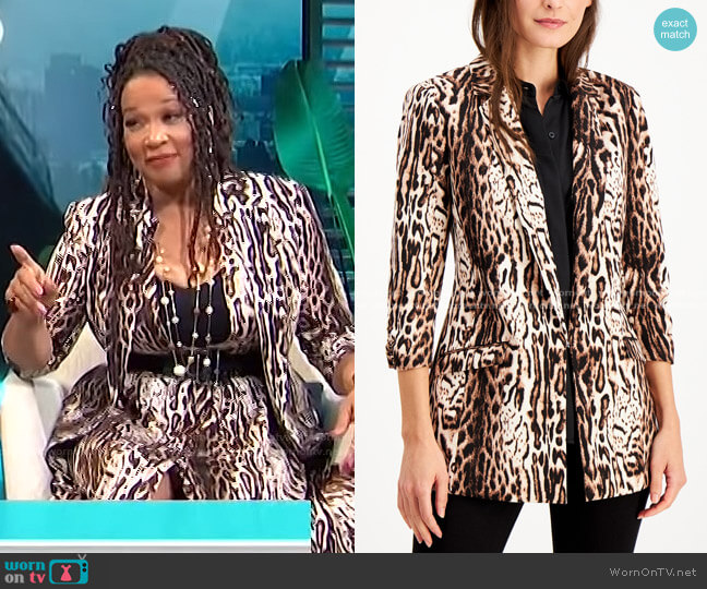 Animal-Print Jacket by INC International Concepts worn by Kym Whitley  on E! News