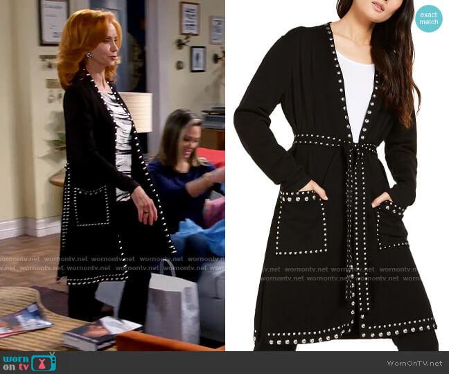 INC International Concepts Studded Cardigan worn by Sheila (Swoosie Kurtz) on Call Me Kat