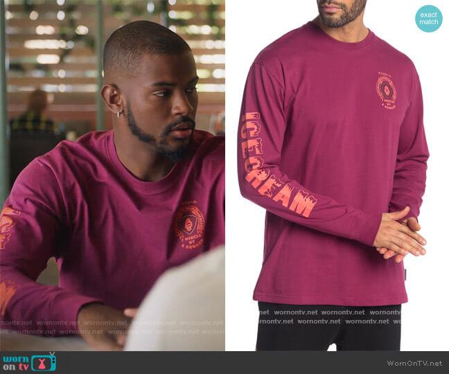 Mega Long Sleeve T-Shirt by Ice Cream worn by Aaron Jackson (Trevor Jackson) on Grown-ish