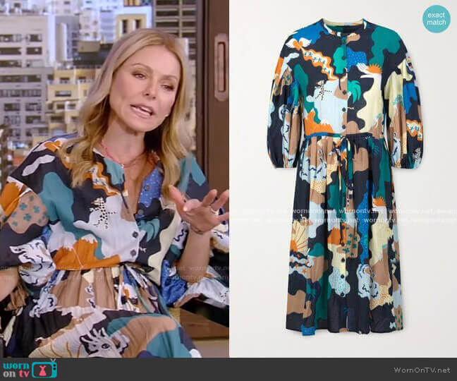 India Printed Voile Dress by Stine Goya worn by Kelly Ripa  on Live with Kelly & Ryan