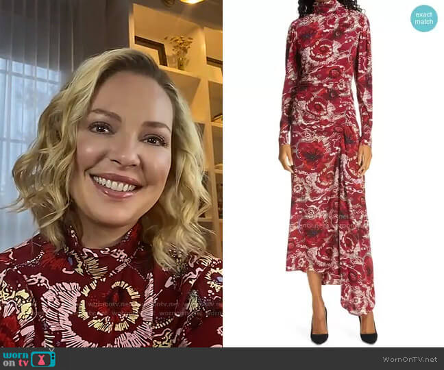 Isabella Floral Asymmetrical Maxi Dress by A.L.C. worn by Katherine Heigl on Live with Kelly and Ryan worn by Kelly Ripa  on Live with Kelly & Ryan