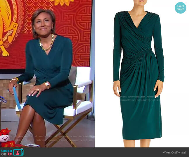 Ruched Midi Dress by Jason Wu Collection worn by Robin Roberts  on Good Morning America