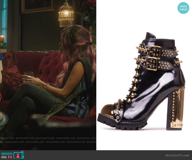 Scorpius Black Box Leather Gold Metal Rocker Lace-up bootie by Jeffrey Campbell worn by Toni Topaz (Vanessa Morgan) on Riverdale