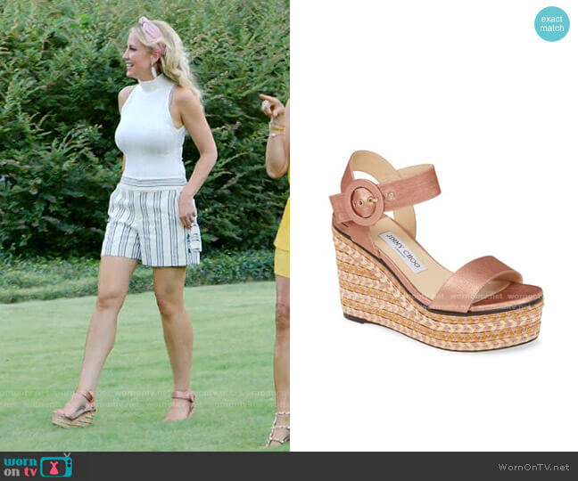 Platform Wedge Sandals by Jimmy Choo worn by Stephanie Hollman  on The Real Housewives of Dallas