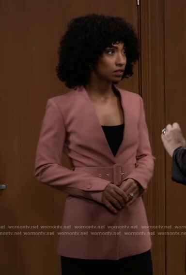 Jordan's pink belted blazer on General Hospital