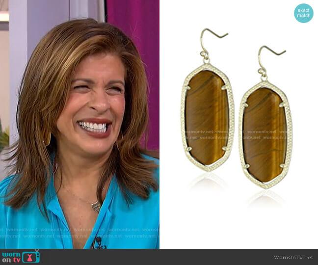 Tiger's Eye Danielle Earrings by Kendra Scott worn by Hoda Kotb  on Today