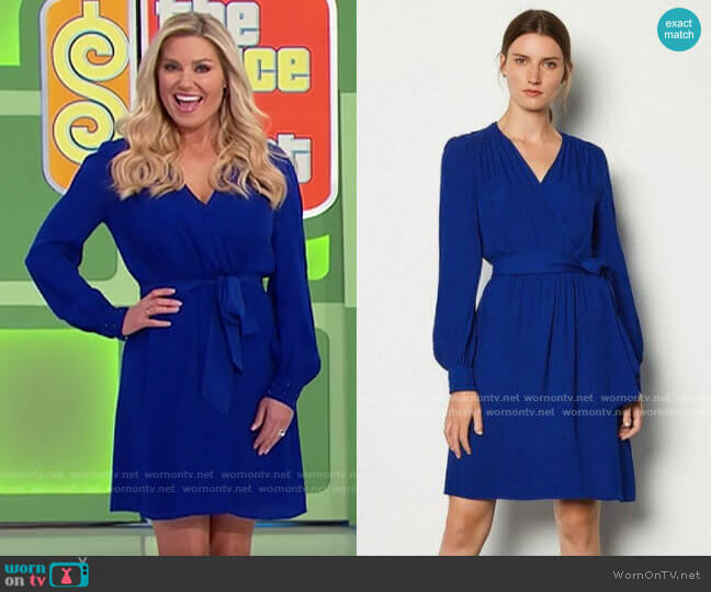Karen Millen Long Sleeve Short Wrap Dress worn by Rachel Reynolds  on The Price is Right