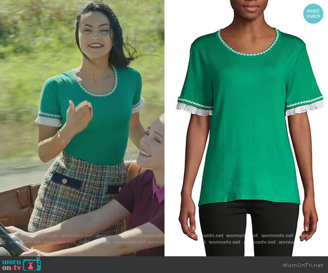Ruffle & Embroidery-Trim Short-Sleeve Sweater by Karl Lagerfeld Paris worn by Veronica Lodge (Camila Mendes) on Riverdale