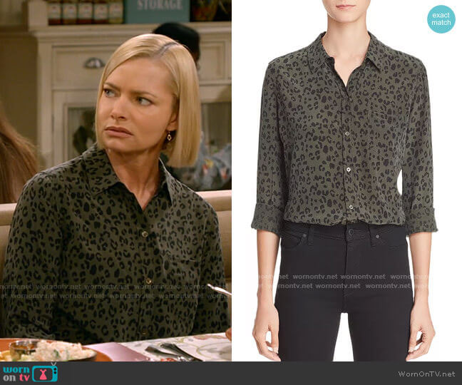 Kate Silk Shirt in Olive Cheetah by Rails worn by Jill Kendall (Jaime Pressly) on Mom