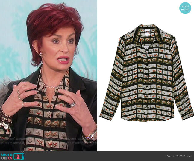 Nina Film Roll Washed Silk Blouse by L'Agence worn by Sharon Osbourne  on The Talk