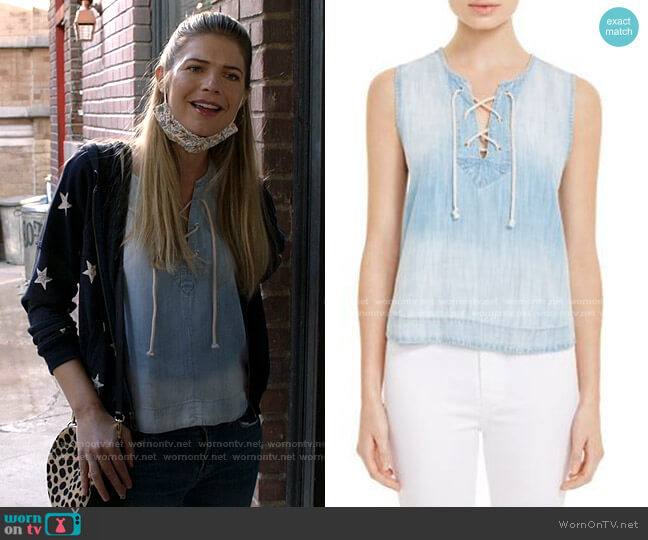 Lace-up chambray tank by Bella Dahl worn by Tami Tamietti (Kate Miner) on Shameless