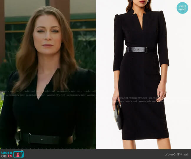 Leather Belt Pencil Dress by Karen Millen worn by Esme Bianco on GMA